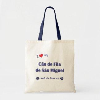 I Love My Cao de Fila de Sao Miguel Female Dog Tote Bag