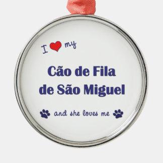 I Love My Cao de Fila de Sao Miguel (Female Dog) Christmas Ornaments