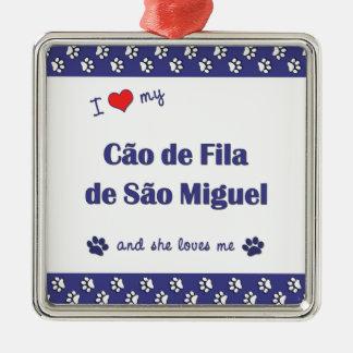 I Love My Cao de Fila de Sao Miguel (Female Dog) Christmas Tree Ornament