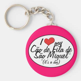 I Love My Cao de Fila de Sao Miguel (It's a Dog) Basic Round Button Keychain