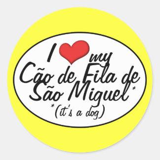 I Love My Cao de Fila de Sao Miguel (It's a Dog) Classic Round Sticker
