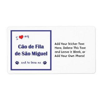 I Love My Cao de Fila de Sao Miguel (Male Dog) Shipping Label
