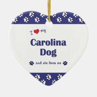 I Love My Carolina Dog (Female Dog) Double-Sided Heart Ceramic Christmas Ornament