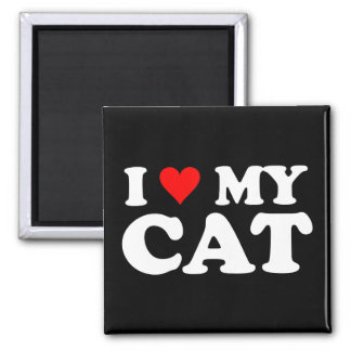 I Love My Cat 2 Inch Square Magnet