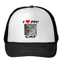I LOVE MY CAT - ADD YOUR OWN PHOTO - CAP TRUCKER HAT