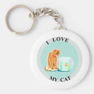 I Love My Cat! Basic Round Button Keychain