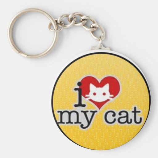 i love my cat basic round button keychain