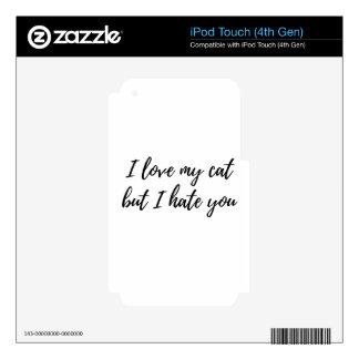 I Love My Cat - Black iPod Touch 4G Skin