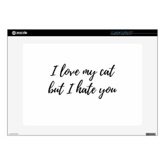 I Love My Cat - Black Laptop Skin