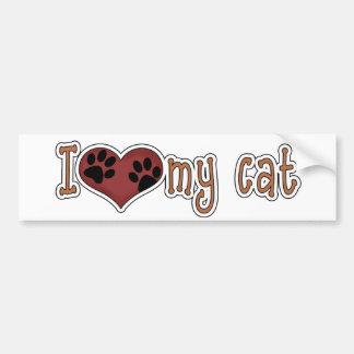 I Love My Cat Car Bumper Sticker