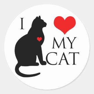I Love My Cat Classic Round Sticker