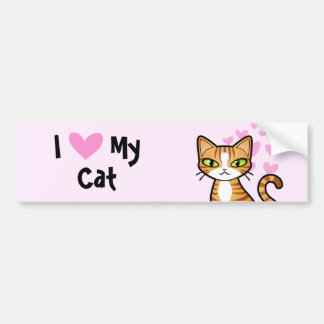 I Love My Cat (design your own cartoon cat) Bumper Sticker