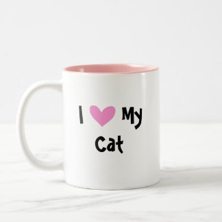 I Love My Cat (design your own cartoon cat) Two-Tone Coffee Mug