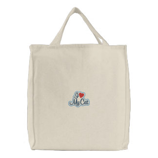I Love My Cat Embroidered Tote Bag