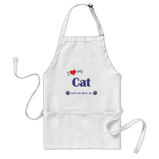 I Love My Cat (Female Cat) Adult Apron
