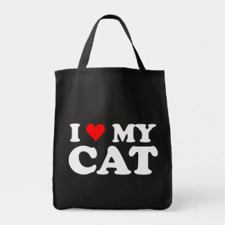I Love My Cat Grocery Tote Bag