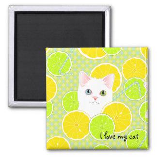 I love my cat - Lemonade flavor - customizable Magnet
