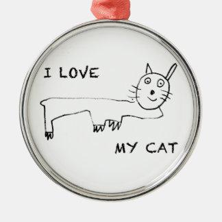 I Love My Cat Metal Ornament