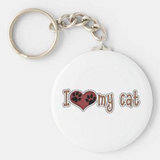 I Love My Cat - Paws Basic Round Button Keychain