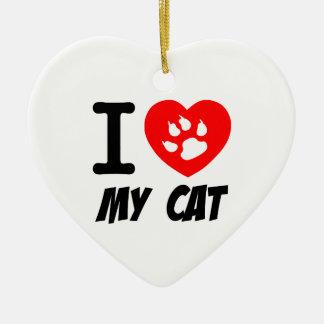 I LOVE  MY CAT PETS FELINES CAUSES ANIMAL HEART FR CHRISTMAS TREE ORNAMENTS