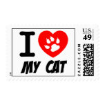 I LOVE  MY CAT PETS FELINES CAUSES ANIMAL HEART FR POSTAGE STAMP