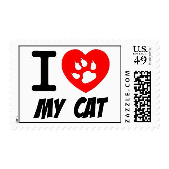 I LOVE  MY CAT PETS FELINES CAUSES ANIMAL HEART FR POSTAGE