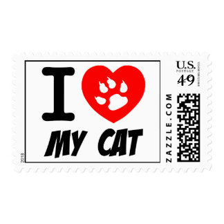 I LOVE  MY CAT PETS FELINES CAUSES ANIMAL HEART FR STAMPS