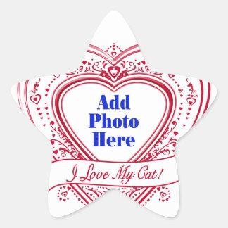 I Love My Cat! Photo Red Hearts Star Sticker