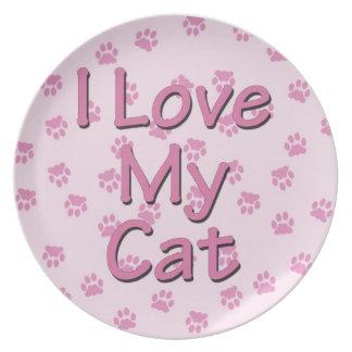 I Love My Cat Plate