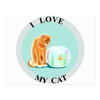 I Love My Cat! Postcard