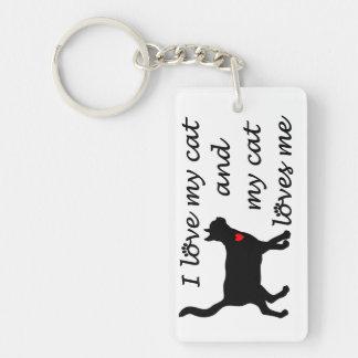 I love my cat rectangle acrylic key chain