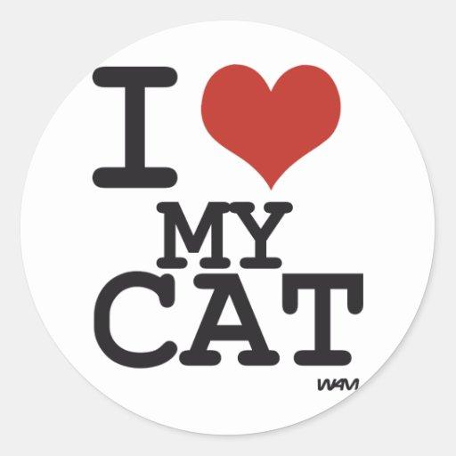 I love my cat round stickers