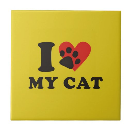 I love my cat small square tile