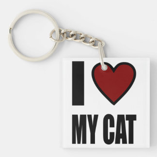 I LOVE MY CAT SQUARE ACRYLIC KEY CHAIN