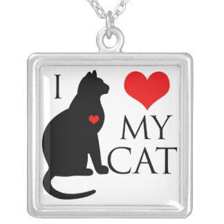 I Love My Cat Square Pendant Necklace