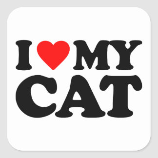 I LOVE MY CAT SQUARE STICKER