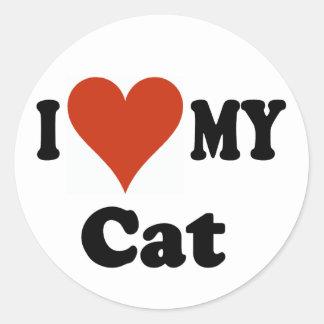I Love My Cat Sticker Round Sticker