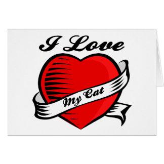 I Love My Cat Tattoo Blank Card