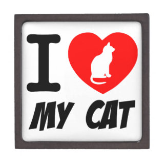 I Love My Cat Text With Red Heart Gift Box