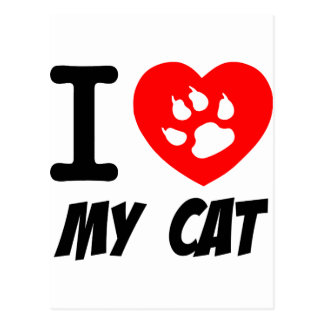I Love My Cat Text With Red Heart Postcard