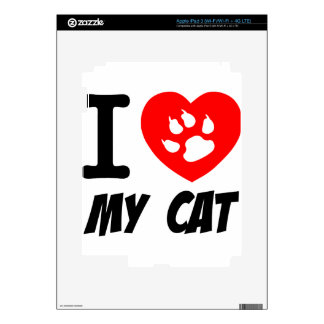 I Love My Cat Text With Red Heart iPad 3 Decals
