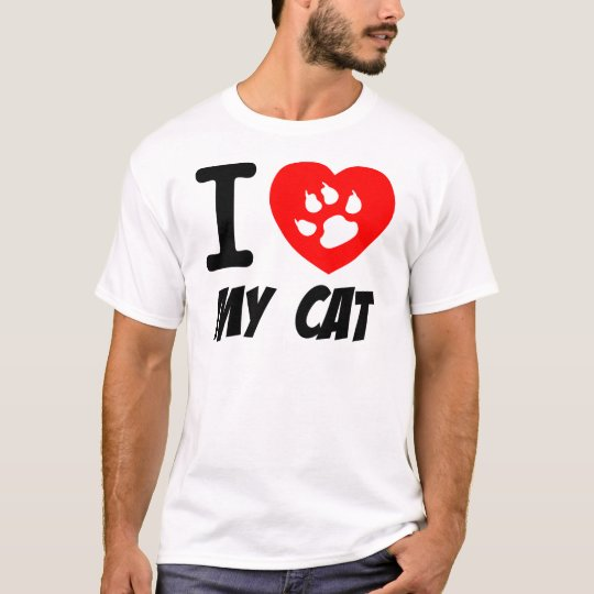 I Love My Cat Text With Red Heart T-Shirt