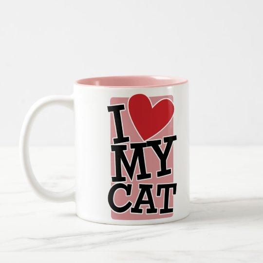 I Love My Cat Two-Tone Coffee Mug