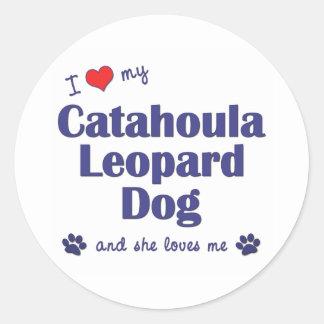 I Love My Catahoula Leopard Dog (Female Dog) Classic Round Sticker