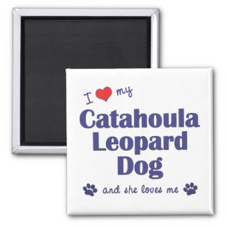 I Love My Catahoula Leopard Dog (Female Dog) 2 Inch Square Magnet