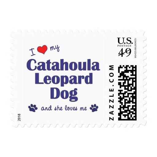 I Love My Catahoula Leopard Dog (Female Dog) Postage Stamps
