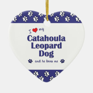 I Love My Catahoula Leopard Dog (Male Dog) Double-Sided Heart Ceramic Christmas Ornament
