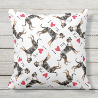 I Love my Catahoula Leopard Dog Throw Pillow