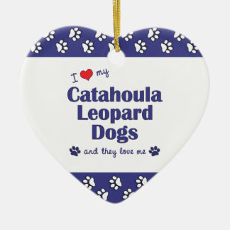 I Love My Catahoula Leopard Dogs (Multiple Dogs) Double-Sided Heart Ceramic Christmas Ornament