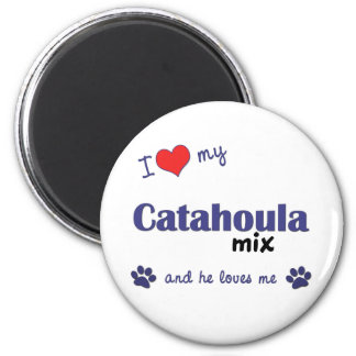 I Love My Catahoula Mix (Male Dog) 2 Inch Round Magnet